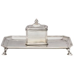 Art Deco Sterling Silver Footed Inkstand