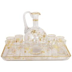 Napoleon III Period Baccarat Crystal Liqueur Set with Carafe Tray and Glasses