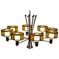 Exceptional Gerald Thurston Eight-Light Brass Chandelier for Lightolier, 1950s