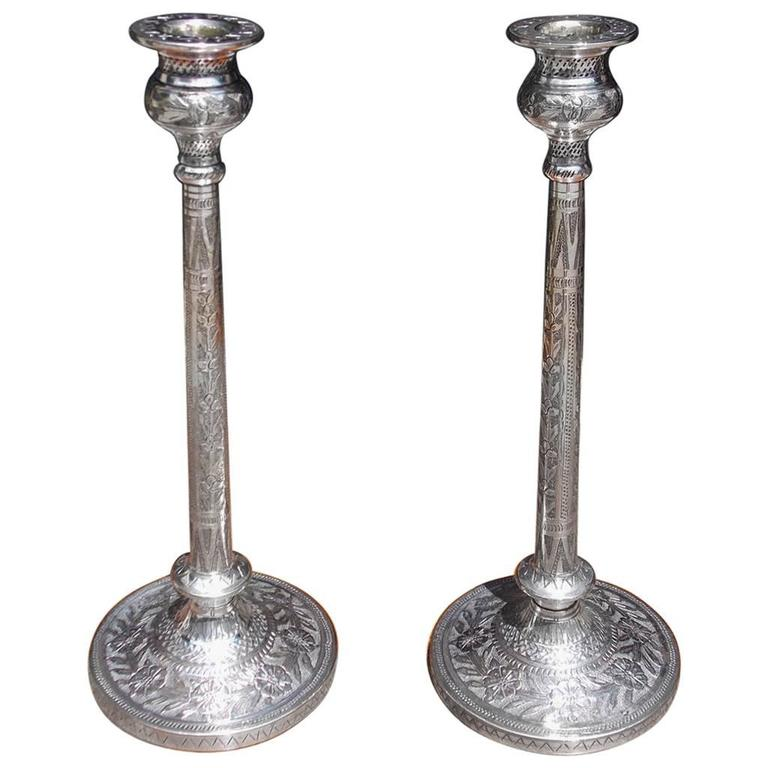 Pair of English Hand Chased Floral Beaded Candlesticks, Circa 1790 For Sale