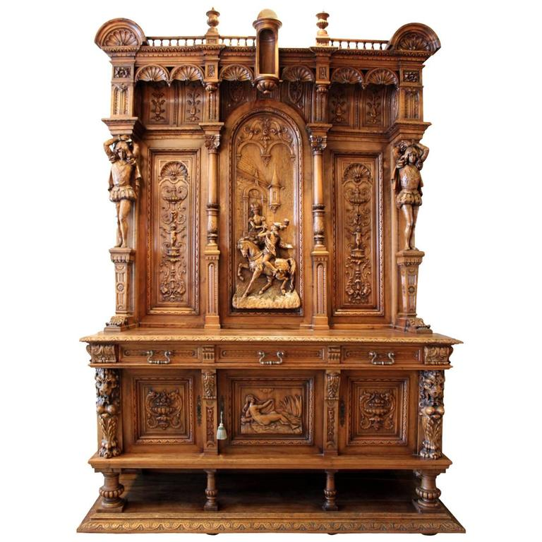 Bon Monumental Hand Carved Italian Walnut Renaissance Court Cabinet For Sale