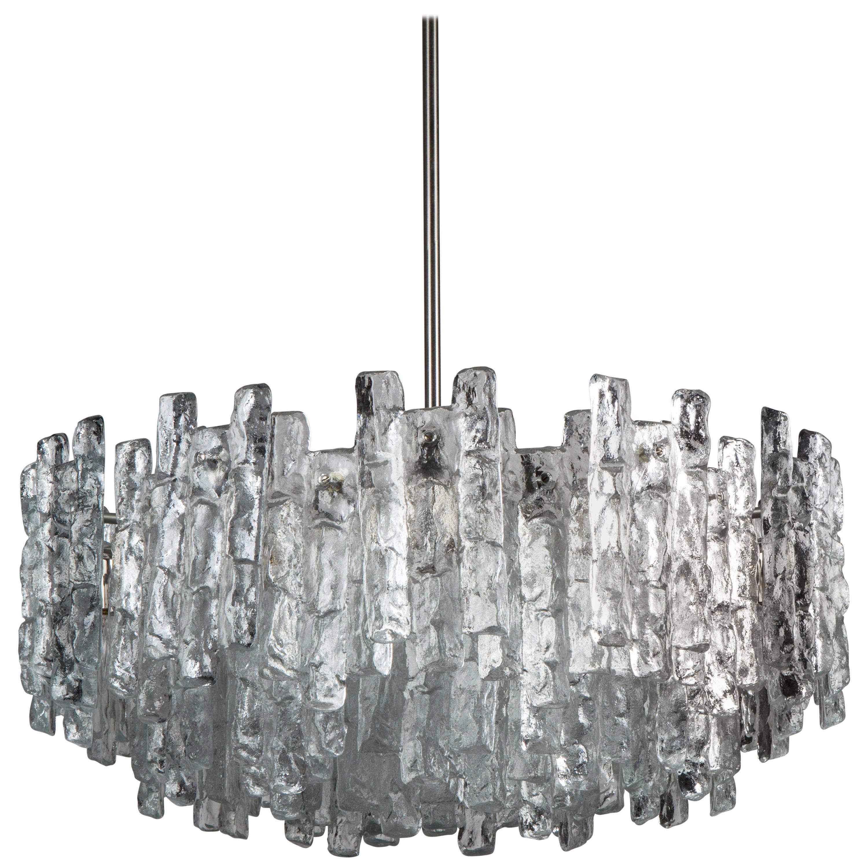 Large Kalmar Crystal and Nickel Scandinavian Modern Chandelier, Circa 1960