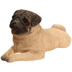 Early 20th Century French Stone Two-Tone Pug Sculpture with Glass Eyes