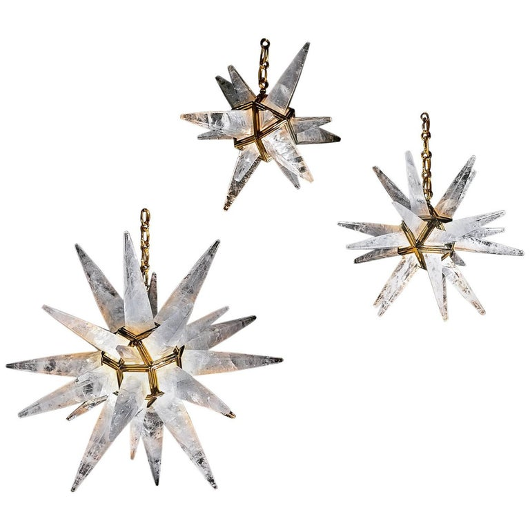 Rock Crystal Stars Chandeliers by Alexandre Vossion For Sale