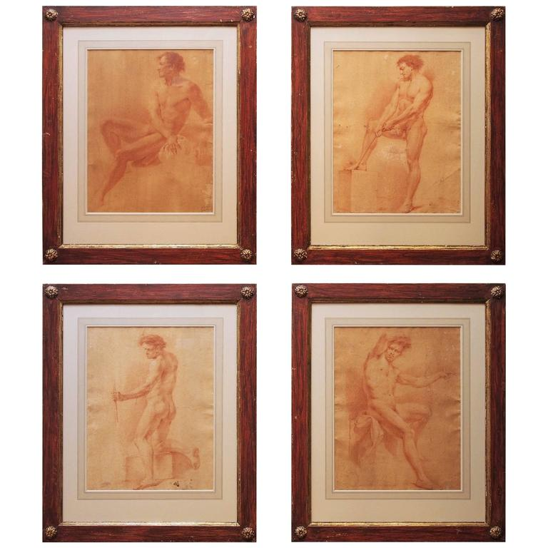 Set of Four 17th Century Sanguine Drawings of Male Nudes For Sale