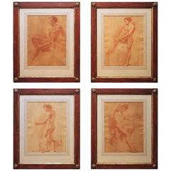 Set of Four 17th Century Sanguine Drawings of Male Nudes