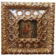 Portuguese Retablo with Gilt and Mirrored Frame