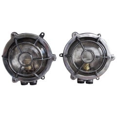 Pair of American Polished Aluminum Bulls Eye Nautical Wall Lights, 20th Century