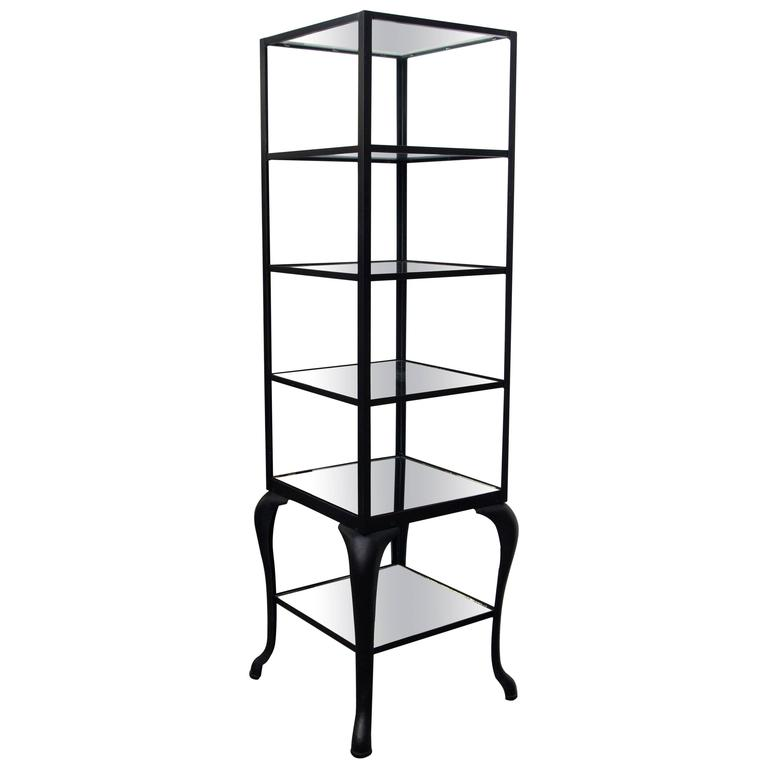 Steel Shelving Unit with Distressed Mirrored Shelves and Cast Iron Cabriole Legs