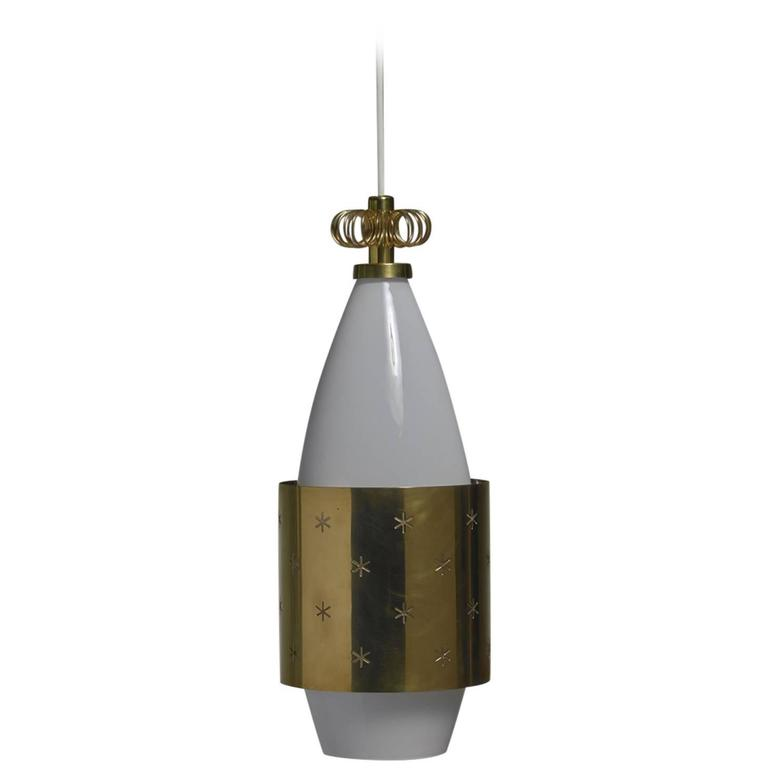 Paavo Tynell K2-12 Opaline Glass and Brass Pendant for Idman, Finland, 1950s For Sale