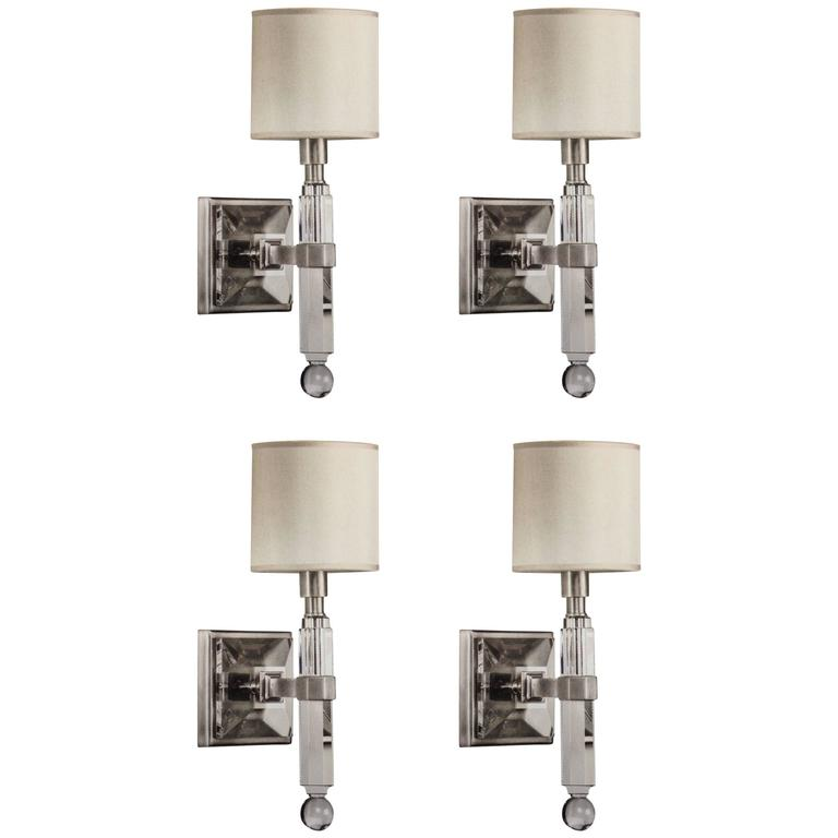 Four French Modern Neoclassical Style Wall Lights in Nickel and Crystal For Sale at 1stdibs