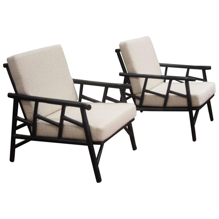 Pair of Ficks Reed Rattan Lounge Chairs at 1stdibs