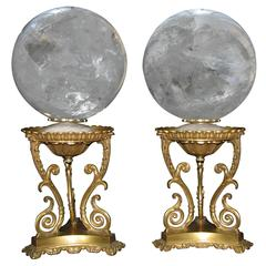 Fine Pair Rock Crystal Sphere on Ormolu Bases, Mid-20th Century