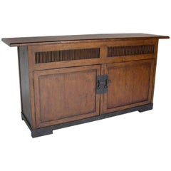 Dos Gallos Custom Walnut Wood Media Console on Iron Base