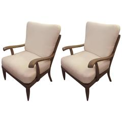Pair of French 1950s Cerused-Oak Armchairs