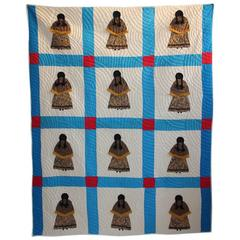 Rare Pictorial Indian Girl Applique Quilt from Oklahoma