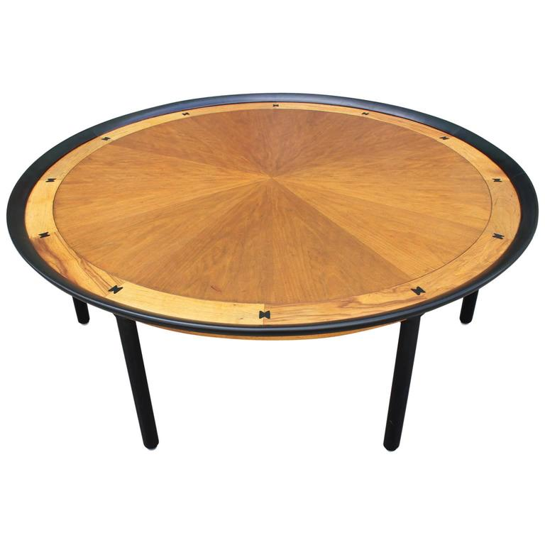 Striking Large Inlaid Round Coffee Center Table For Sale At 1stdibs