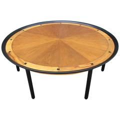 Striking Large Inlaid Round Coffee Center Table