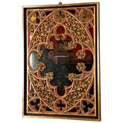 Carved Wood Neo-Gothic Mirror, 1890