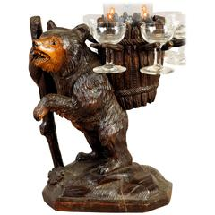 Hand-Carved Wood Bear Liqueur Stand, Swiss, 1920
