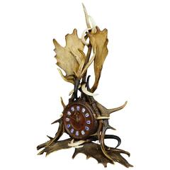 Great Lodge Style Antler Mantel Clock, 1900