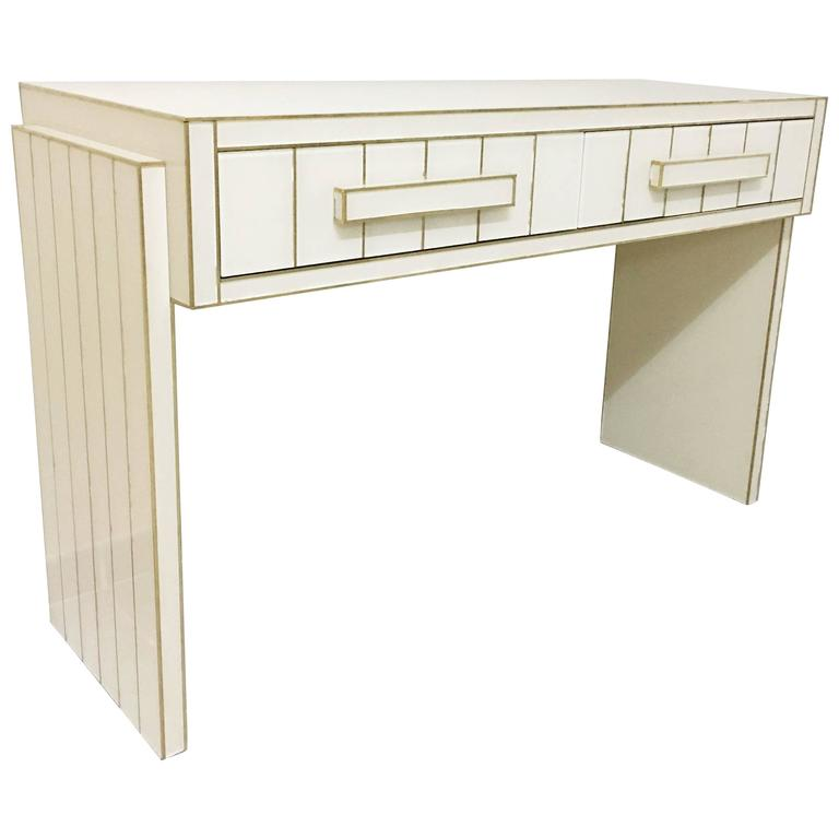 Two Drawer Mirrored Glass and Brass Writing Desk Console