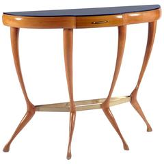 Stylish Italian 1950s Solid Maple Demilune Console
