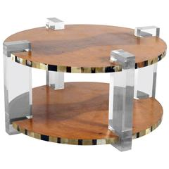 Outstanding High Quality Italian 1960s Round Lucite and Tuja Burl Coffee Table