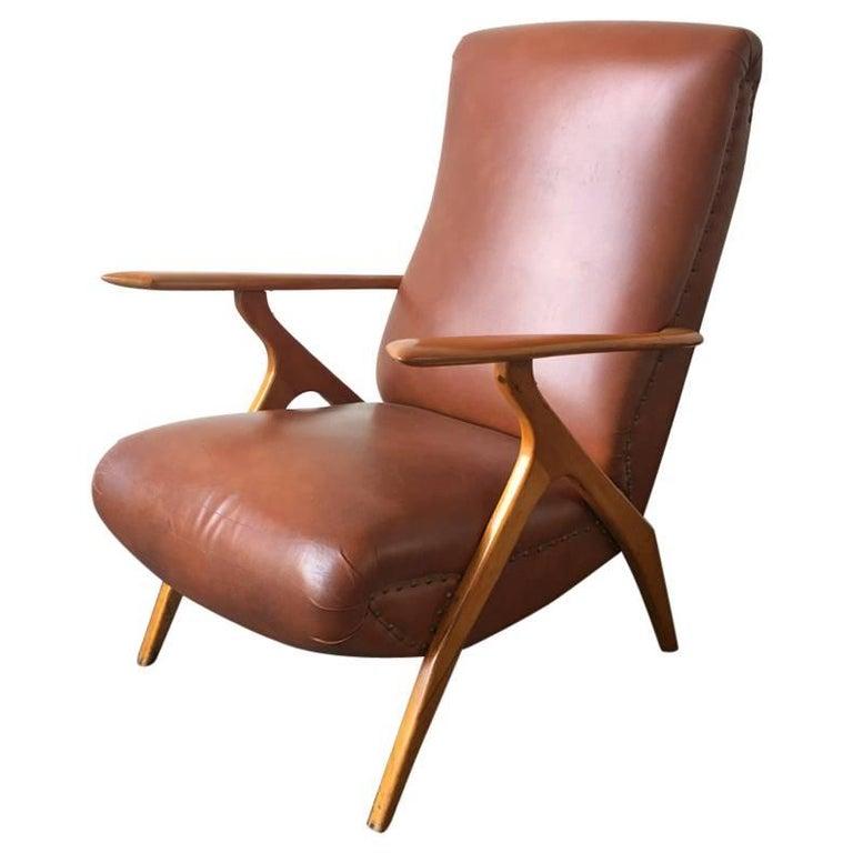 Rare Italian Lounge Chair by Antonio Gorgone For Sale