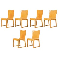 Wonderful and Very Rare Set of Six Axel Larsson Stackable Dining Chairs