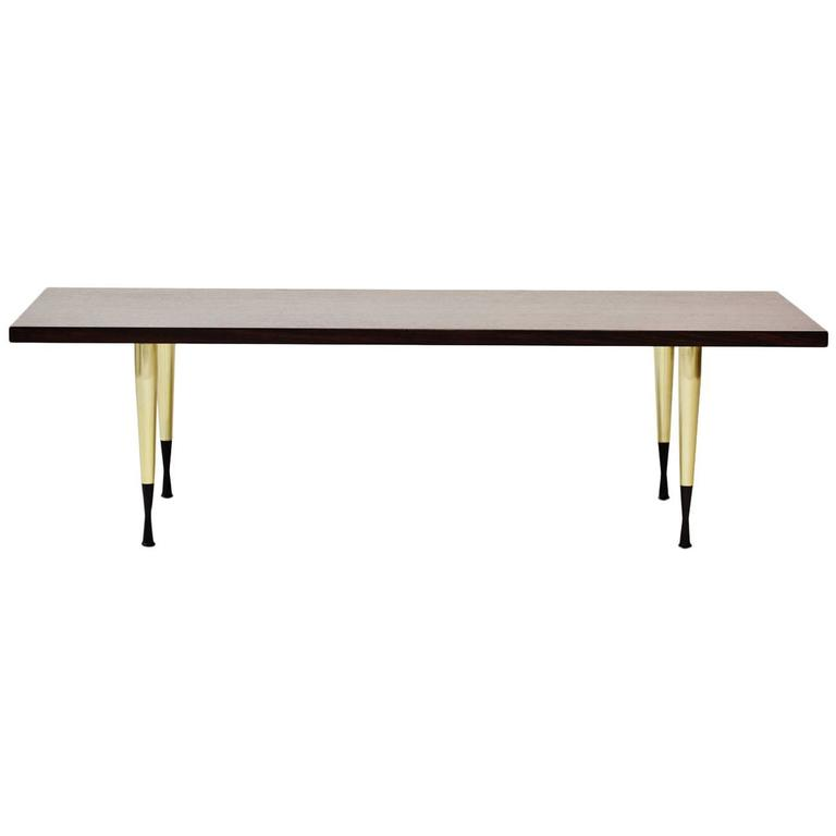 Walnut and Brass Coffee Table from NK