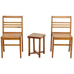 Set of Chairs and Side Table by Rene Gabriel, circa 1940