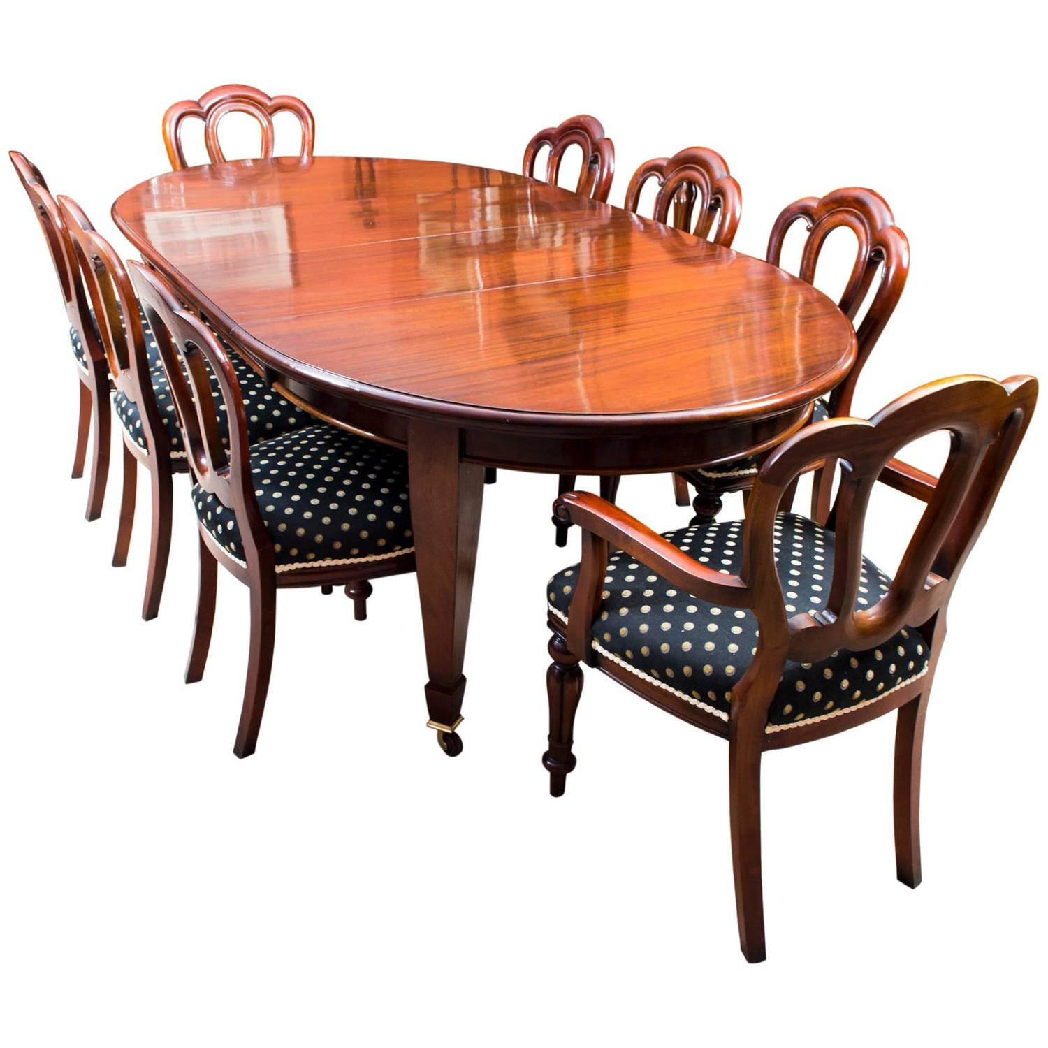 Antique edwardian dining table eight chairs circa 1900 at for Antique dining room furniture