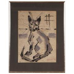 Alfred Birdsey Watercolor of a Sitting Cat, Signed