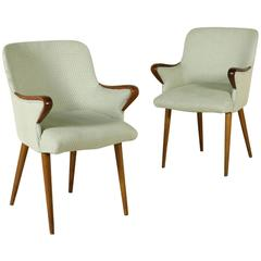 Two Chairs by Osvaldo Bersani for Tecno Foam Fabric Stained Beech Vintage, 1950s