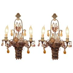 Extraordinary Pair of Flower Basket Crystal and Paint Decorated Sconces