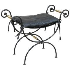 French Mid-Century Black Iron with Brass & Faux Croc Print Leather Cushion Stool