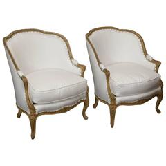 19th Century French Gold Gilt Louis XV Style Bergeres Upholstered in Muslin