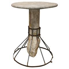Ancient Italian Oval Shape Stone Garden Table with Original Stone Base