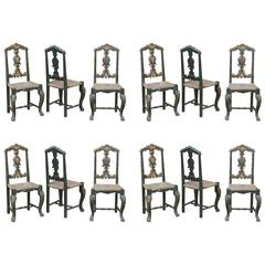 Spanish 19th Century Painted Black/Gold Rush Seat Set of 12 Dining Chairs