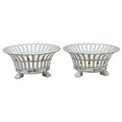 Rare Pair of Tucker & Hemphill American Porcelain Reticulated Fruit Baskets