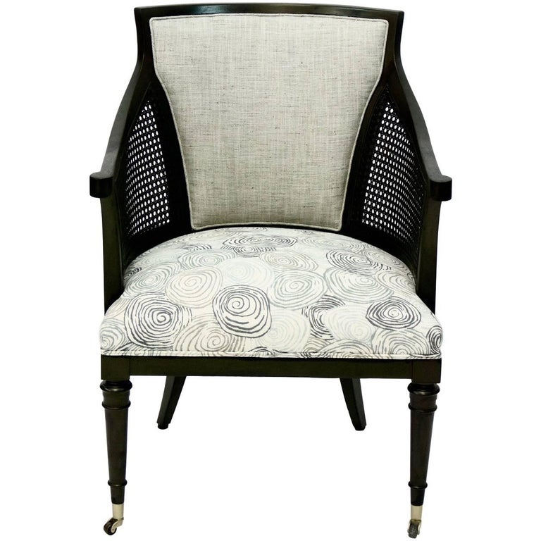 Mid Century Caned Armchair with Upholstered Seat and Back For Sale