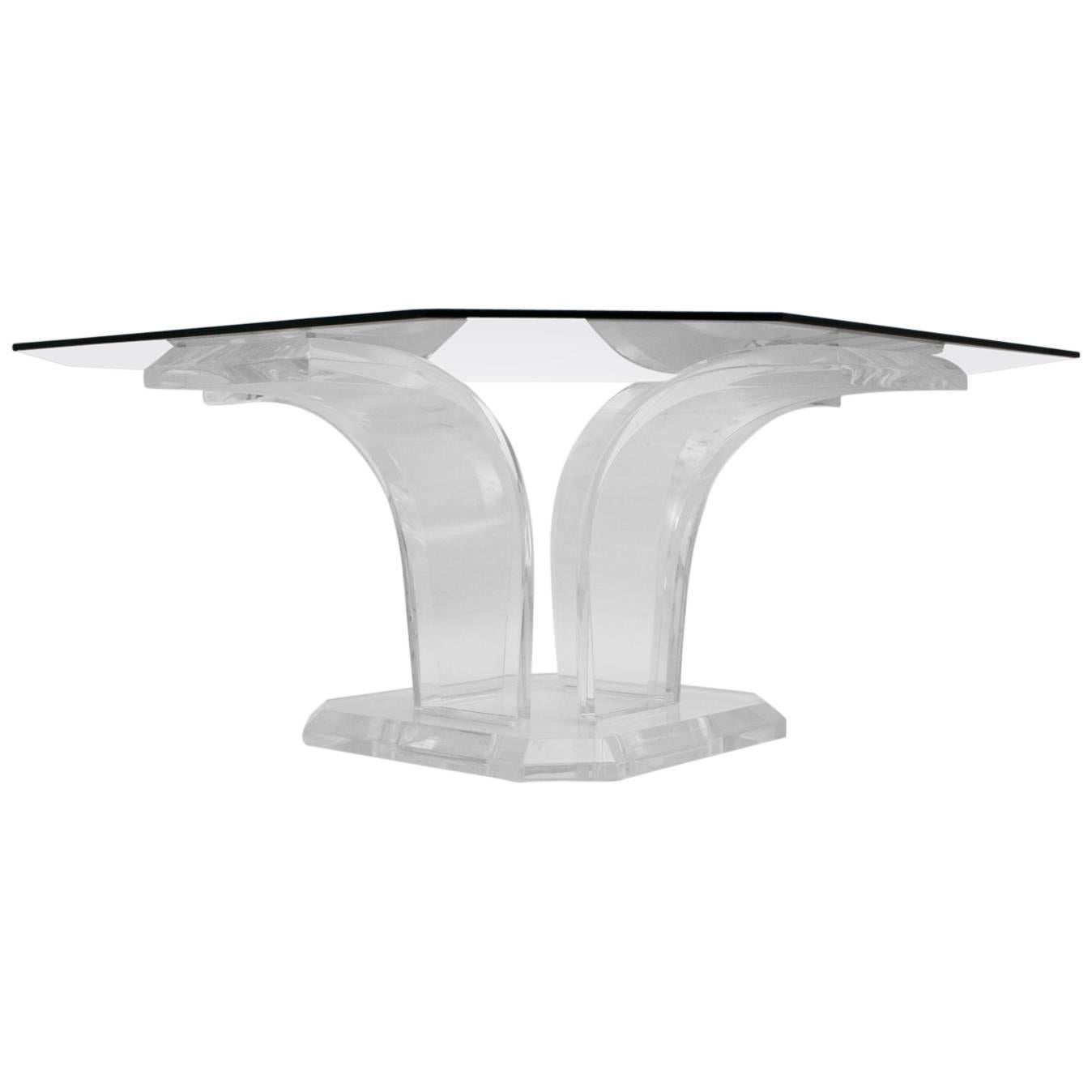Mid Century Modern Lucite Clear Glass Coffee Table or Sofa Table , circa 1970