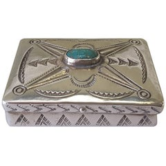 Miniature .925 Silver and Turquoise Navajo Trinket Box, Typical Navajo  Design