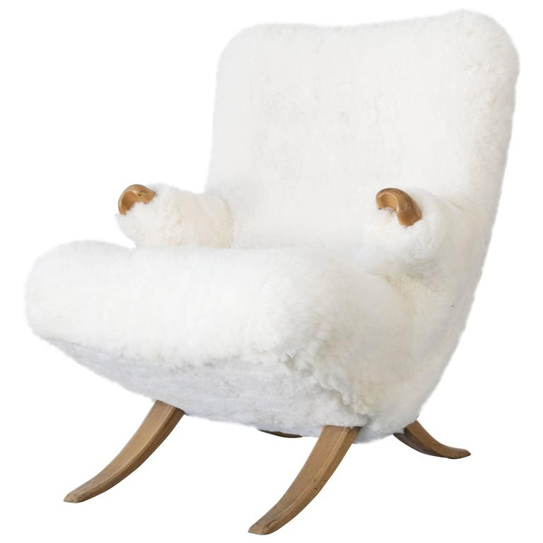 Organic Design Lounge Chair with Sheepskin, 1950s For Sale