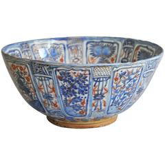 A Large and Perfect Chinese Blue and White Wanli Clobbered Bowl, circa 1620