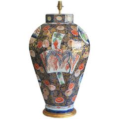 An Impressive 19th Century Imari Porcelain Lamped Vase