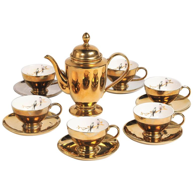Vintage Miss Etoile Gold Porcelain Tea Set Rococo Style