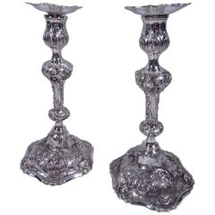 Pair of Antique Sterling Silver Candlesticks in French Rococo Style