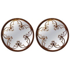 Pair of Ornate Antique Wrought Iron Wall Mirrors
